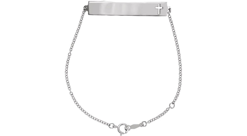 Sterling Silver Pierced Cross Bracelet