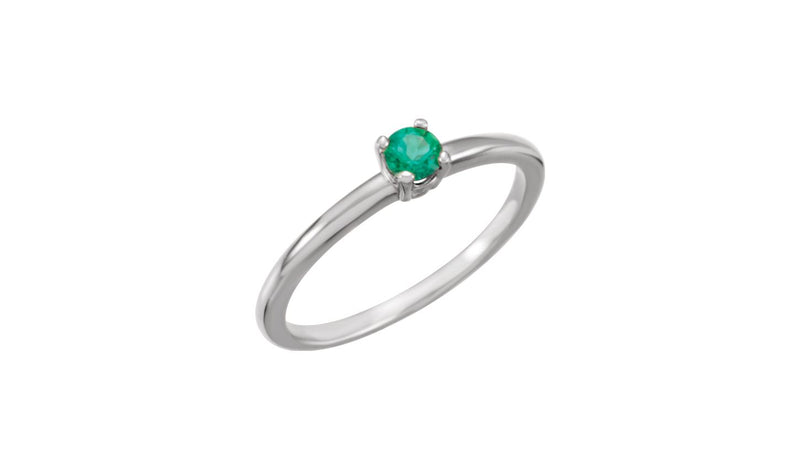 "Sterling Silver Imitation Emerald ""May"" Youth Birthstone Ring"