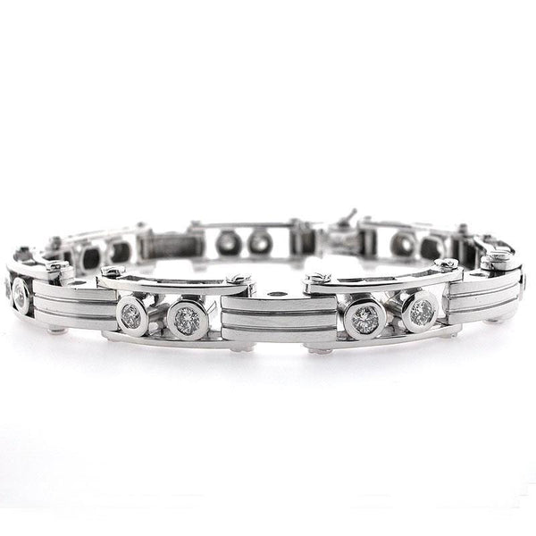 Diamond men bracelet natural round cut  white gold jewelry 1.60 CT.