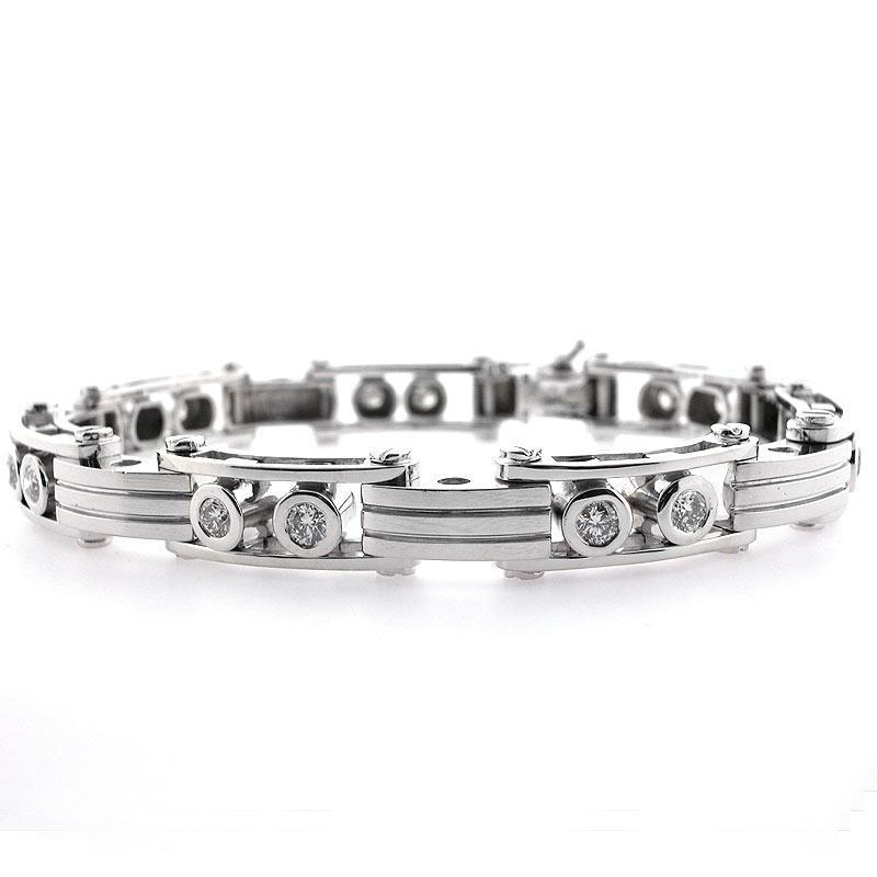 Diamond men bracelet natural round cut  white gold jewelry 1.60 CT. - THE LUSTRO HUT