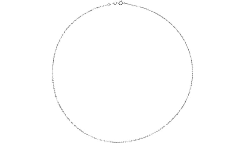 "10K White 1 mm Diamond Cut Cable 16"" Chain"