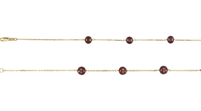 "14K Yellow Gold Freshwater Cultured Dyed Chocolate Pearl 18"" Necklace"
