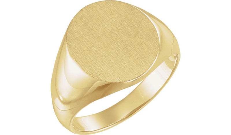 10K Yellow 18x16 mm Solid Oval Men's Signet Ring