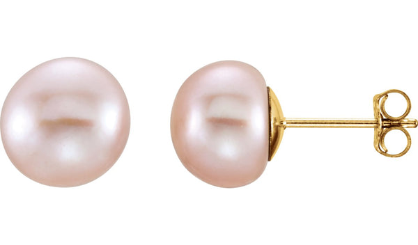 14K Yellow 8-9 mm Pink Freshwater Pearl Earrings