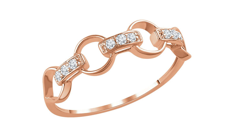 14K Rose 1/10 CTW Diamond Link Ring - THE LUSTRO HUT