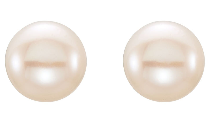 14K Yellow 6-7 mm White Freshwater Cultured Pearl Earrings
