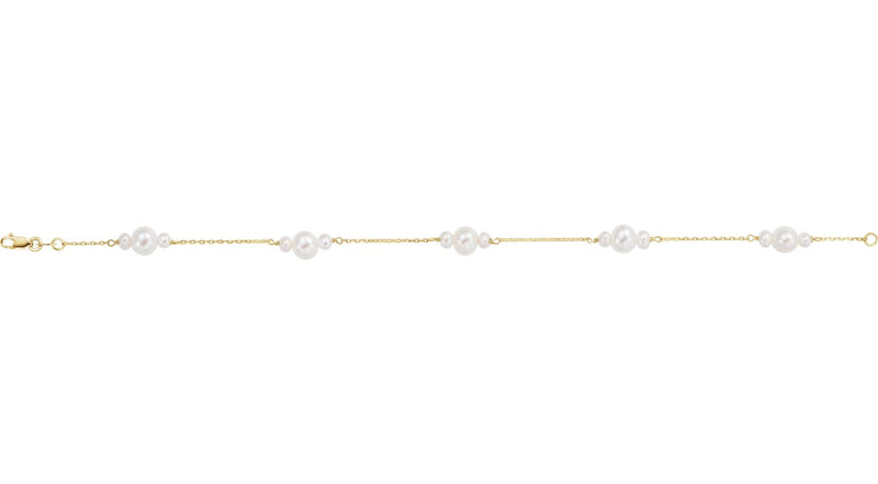 "14K Yellow Gold Freshwater Cultured Pearl 7.5"" Bracelet"
