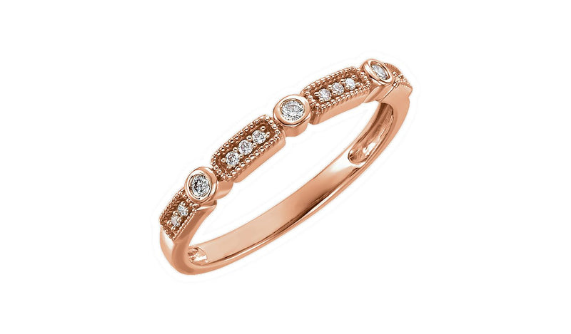 14K Rose 1/10 CTW Diamond Stackable Ring