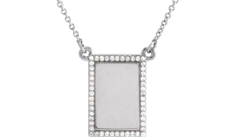 "14K White 1/8 CTW Diamond Bar 18"" Necklace"