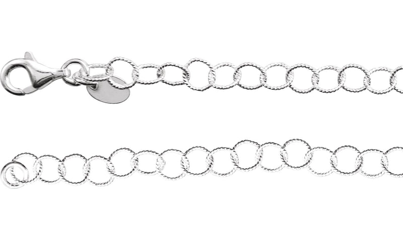 "Sterling Silver 4.6 mm Knurled Rolo 16"" Chain"