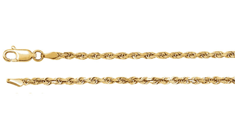 "14K Yellow 2.5 mm Diamond Cut Rope 7"" Chain"