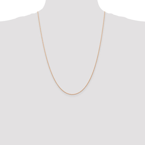 14k Rose Gold .7 mm Carded Cable Rope Chain