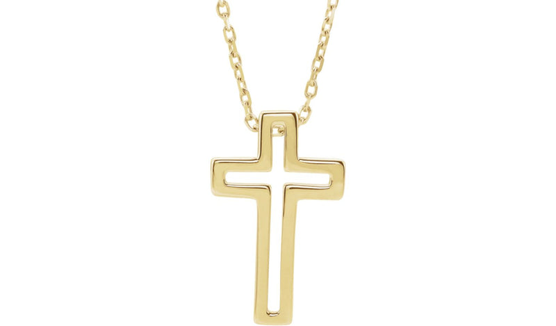 "14K Yellow Open Cross 16-18"" Necklace"