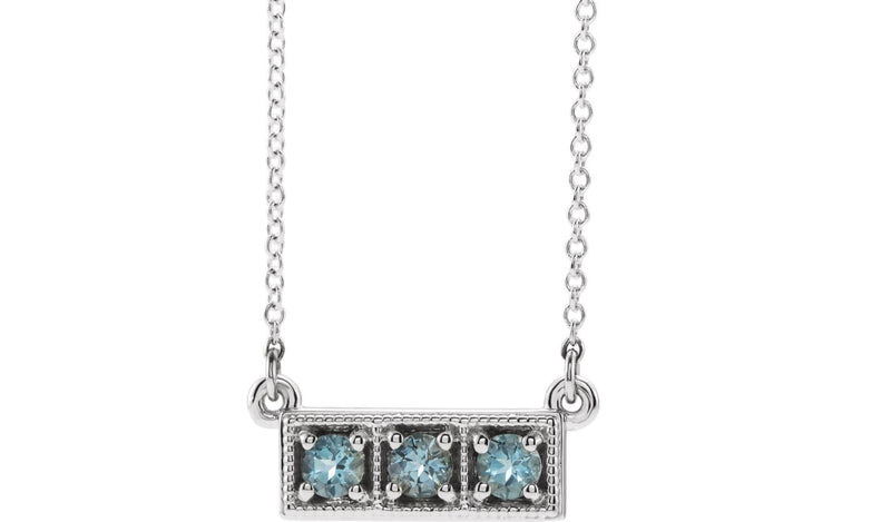 "14K White Aquamarine Three-Stone Granulated Bar 16-18"" Necklace"