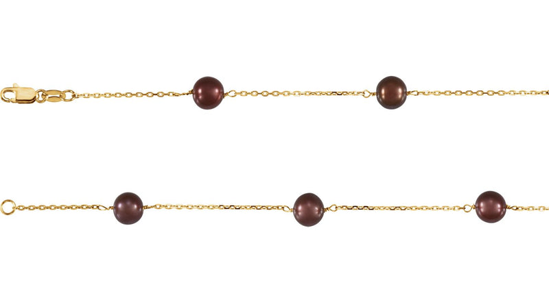 "14K Yellow Gold Freshwater Cultured Dyed Chocolate Pearl 7.5"" Bracelet"
