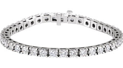"18K White Gold 9 CTW Diamond Line 7.25"" Bracelet"