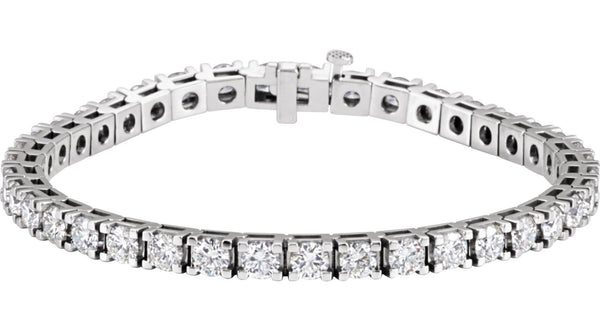 "14K White Gold 9 CTW Diamond Line 7.25"" Bracelet"