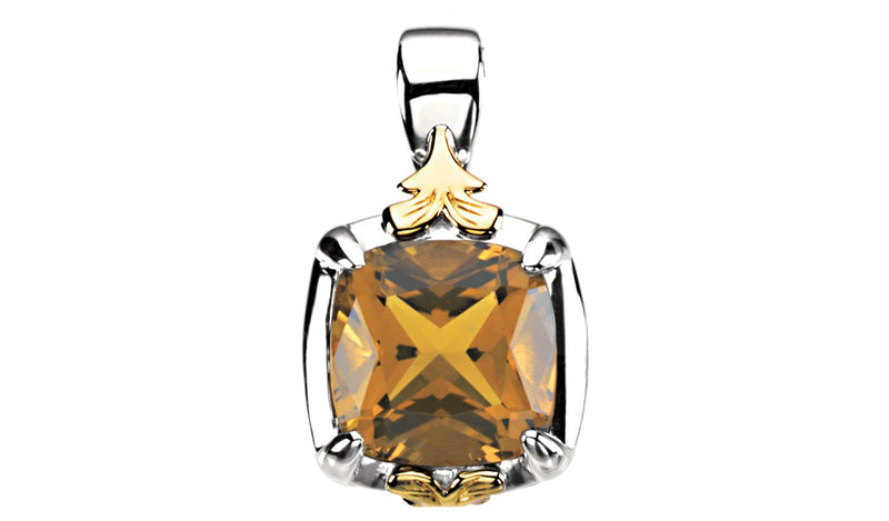 Sterling Silver & 14K Yellow Honey Quartz Pendant