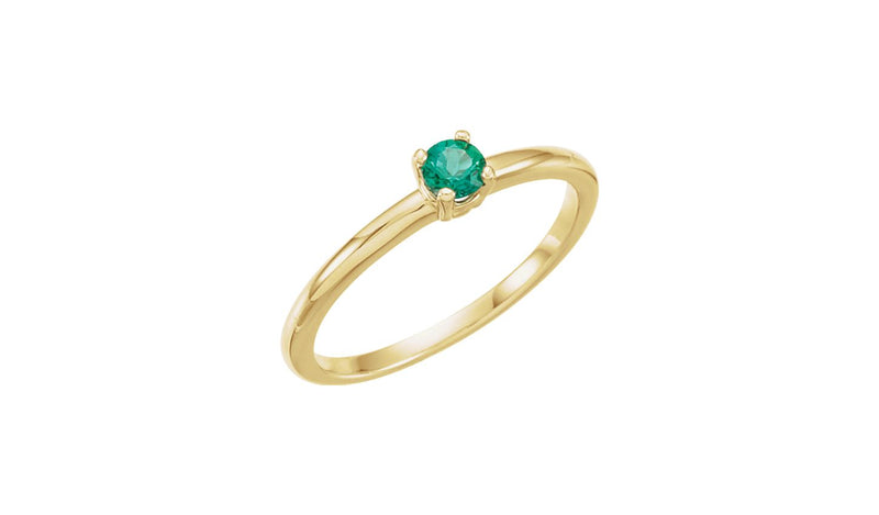 "14K Yellow Imitation Emerald ""May"" Youth Birthstone Ring"