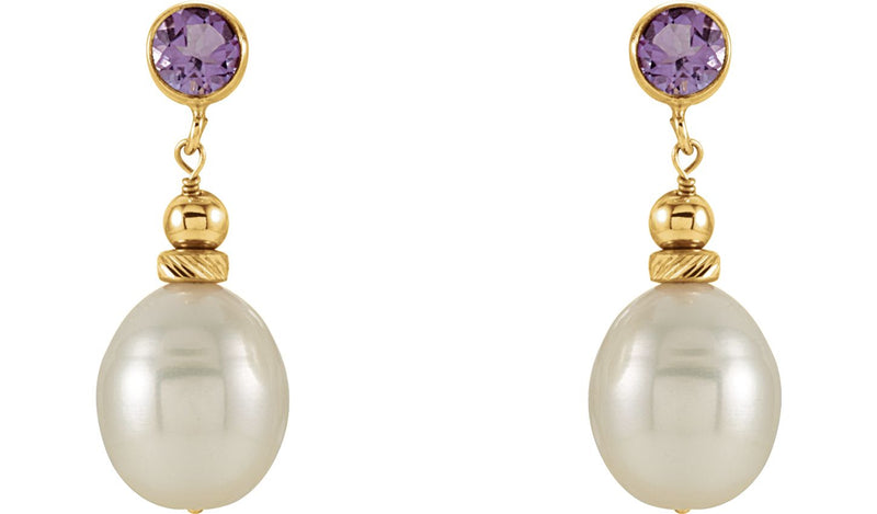 14K Yellow Freshwater Pearl & Amethyst Earrings