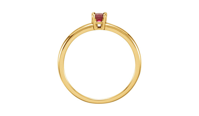 "14K Yellow Ruby ""July"" Youth Birthstone Ring"