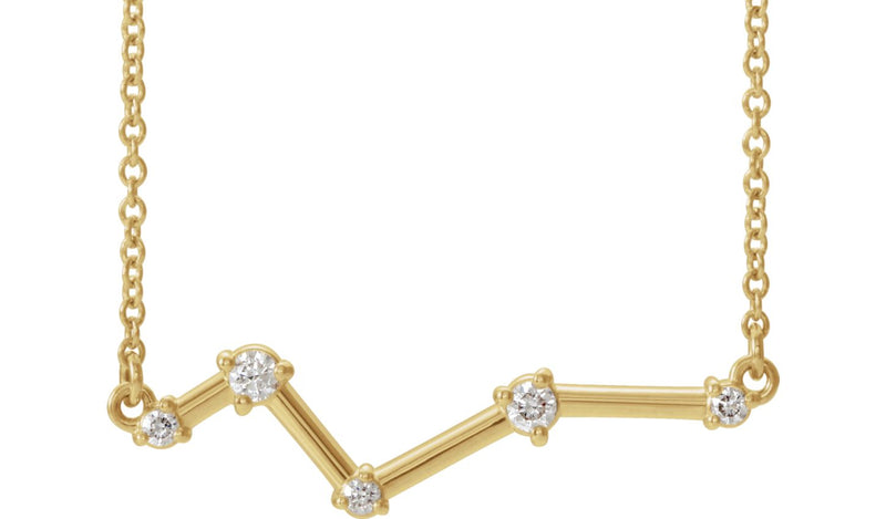 "14K Yellow 1/10 CTW Diamond Constellation Bar 18"" Necklace"