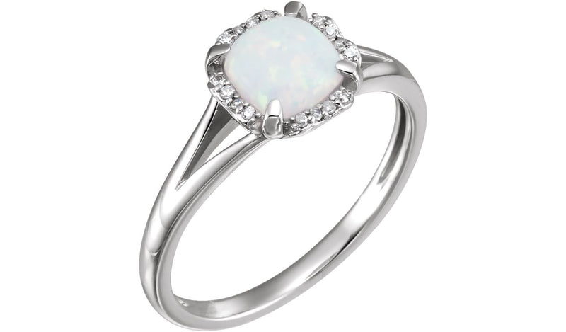 14K White Created Opal & .05 CTW Diamond Ring - THE LUSTRO HUT