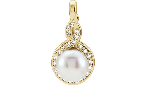 14K Yellow Freshwater Cultured Pearl & 1/10 CTW Diamond Pendant - THE LUSTRO HUT