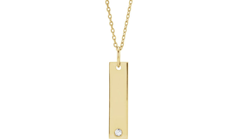 "14K Yellow .03 CT Diamond Engravable Bar 16-18"" Necklace"