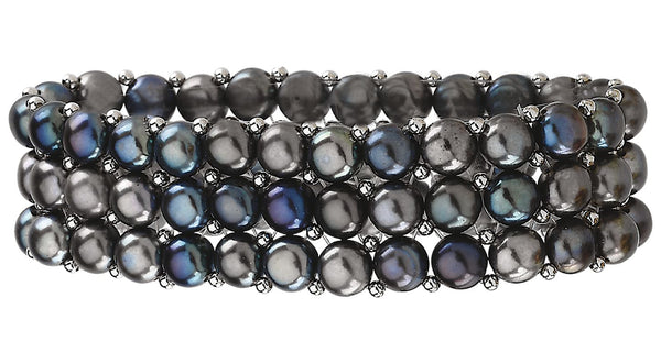 Sterling Silver Freshwater Cultured Black Pearl 3 Row Stretch Bracelet