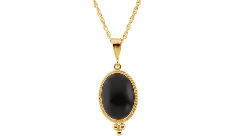"14K Yellow 14x10 Oval Cabochon Onyx 18"" Necklace"