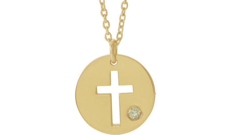 "14K Yellow Peridot Pierced Cross Disc 16-18"" Necklace"
