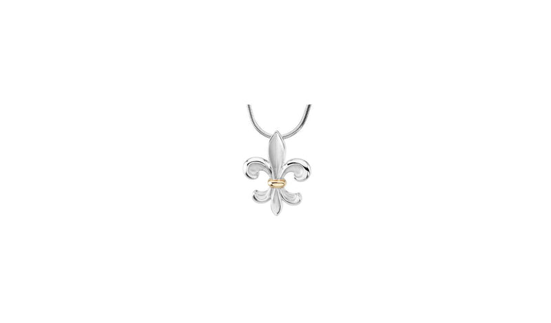 "Sterling Silver & 14K Yellow Fleur-de-Lis 18"" Necklace"