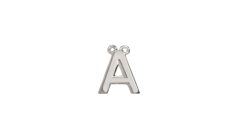"Sterling Silver Letter ""A"" Block Initial Necklace Center"