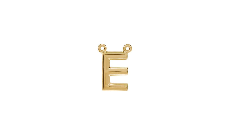 "14K Yellow Letter ""E"" Block Initial Necklace Center"