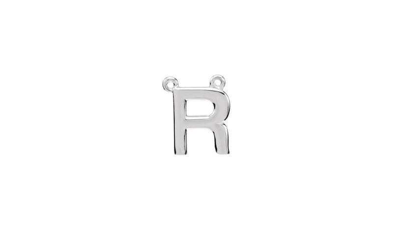 "Sterling Silver Letter ""R"" Block Initial Necklace Center"