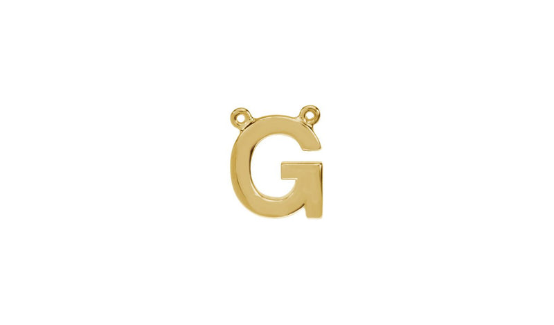 "14K Yellow Letter ""G"" Block Initial Necklace Center"