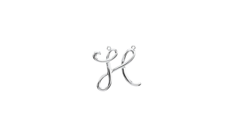 "Sterling Silver ""H"" Script Initial"