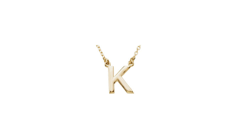 "14K Yellow Letter ""K"" Block Initial 16"" Necklace"