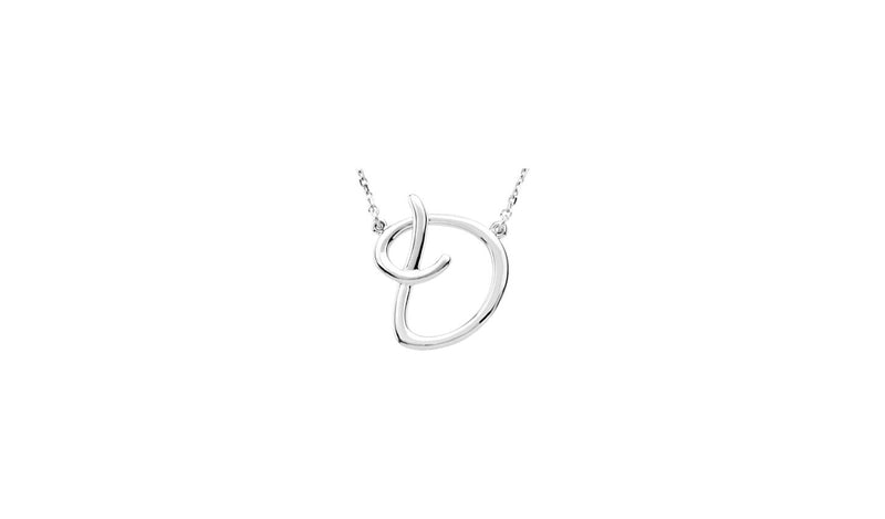 "Sterling Silver ""D"" Script Initial 16"" Necklace"