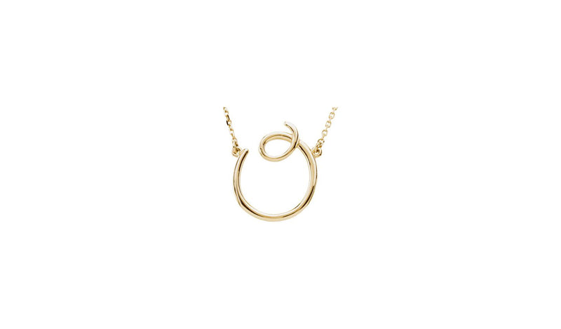 "14K Yellow ""O"" Script Initial 16"" Necklace"