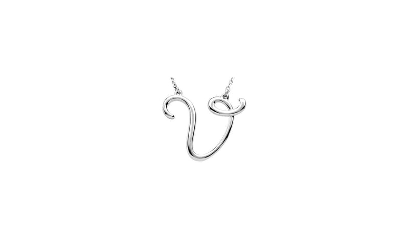 "Sterling Silver ""V"" Script Initial 16"" Necklace"