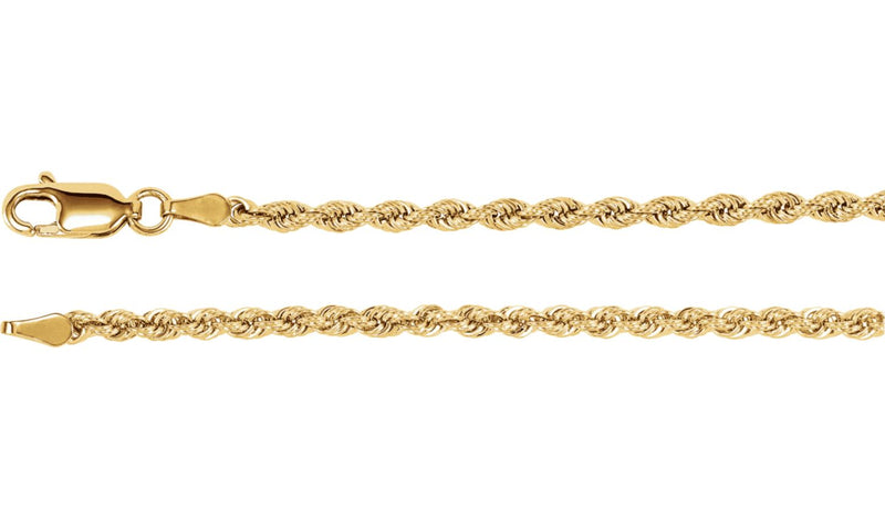 "14K Yellow 2.5 mm Rope 24"" Chain"