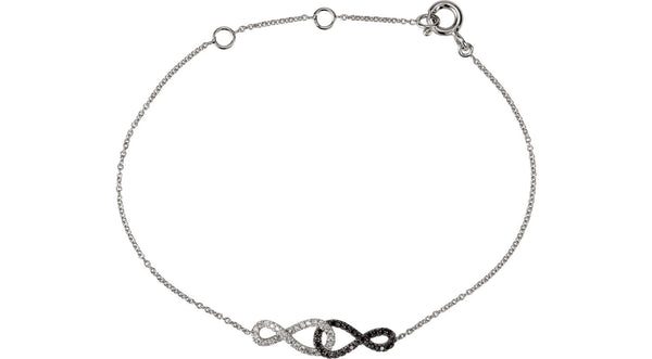 "1/5 CTW Black & White Diamond Infinity-Inspired 5.75 - 6.75"" Bracelet - THE LUSTRO HUT"