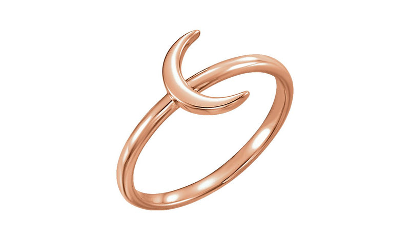 14K Rose Crescent Ring - THE LUSTRO HUT