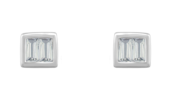 14K White 1/2 CTW Diamond Baguette Stud Earrings