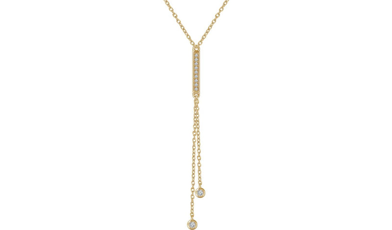 "14K Yellow 1/10 CTW Diamond Bar Y 16-18"" Necklace"