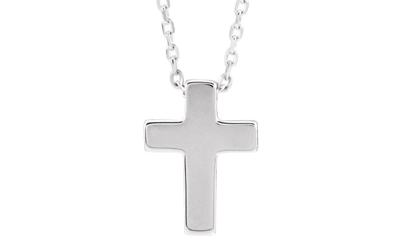 "Platinum Petite Cross 16-18"" Necklace"