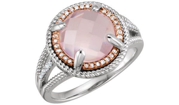14K Rose Gold-Plated Sterling Silver Rose Quartz & 1/8 CTW Diamond Ring