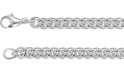"Sterling Silver 8 mm Curb 16"" Chain"